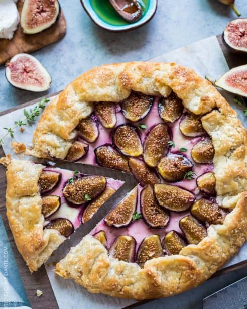 Fig, Honey and Goat Cheese Galette is a fig lover's dream. Nestled in a flaky, buttery crust are sweet figs, tangy goat cheese and sweet honey. Make it while fig season is here.