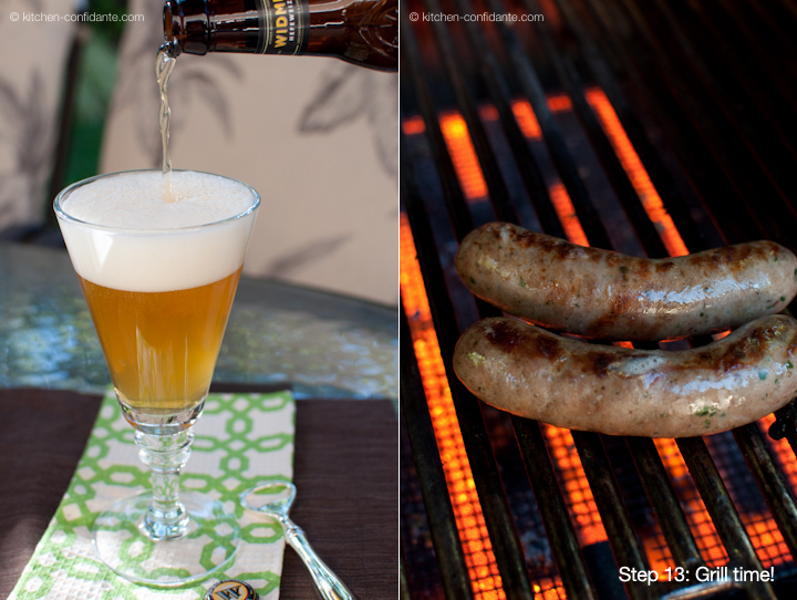 A glass of beer and bratwurst on the grill.
