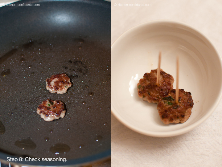 Frying mini sausage patties in a pan to test for flavoring.