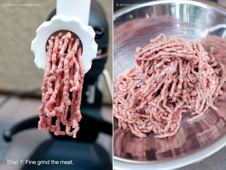 Grinding meat with a sausage grinder.
