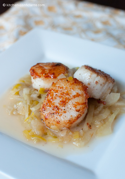 Seared Scallops with Sake Braised Fennel & Leeks