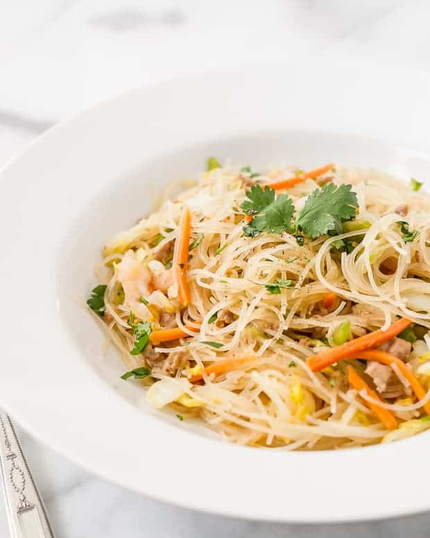 Pancit Bihon - Filipino Rice Noodles served in a pasta bowl.