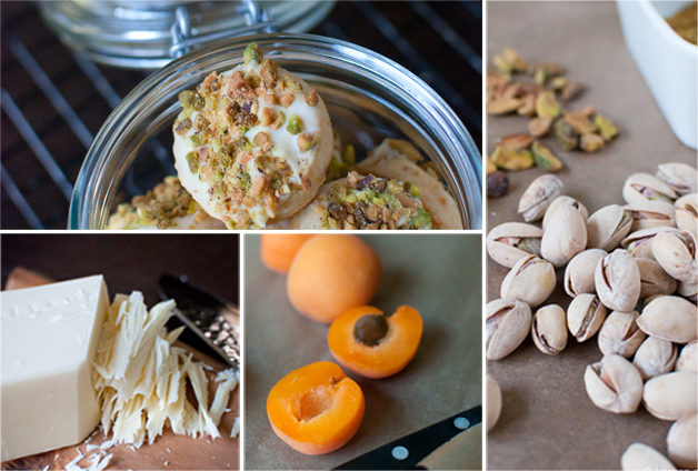 White Chocolate Dipped Apricot-Pistachio Shortbread Cookies