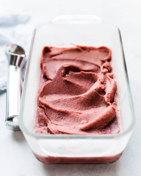 There's nothing simpler than homemade sorbet in the summer! This recipe for Cherry Basil Sorbet