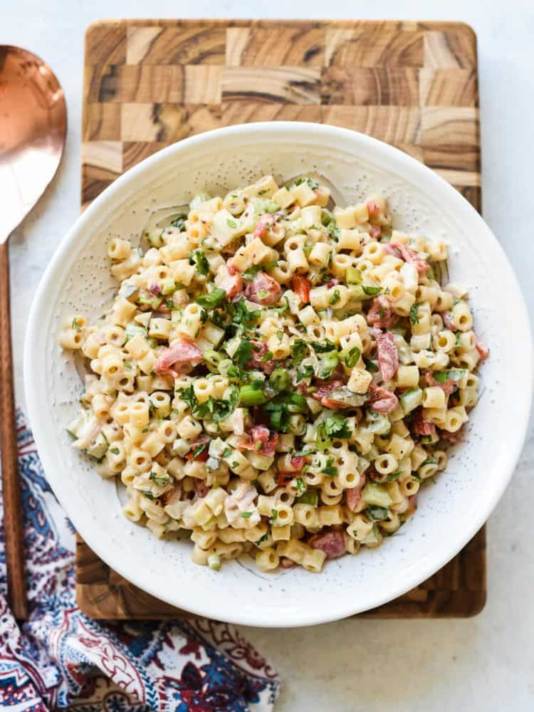 Fireworks Pasta Salad is an updated macaroni salad with lots of kick! You'll love this spicy update to a classic macaroni salad.