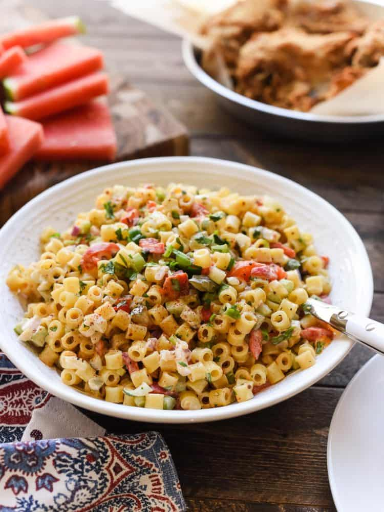 Add this Fireworks Pasta Salad to your table at your next barbecue! you might want to add this to your celebration arsenal! With its crunch and spice, this pasta salad will add pop to your table.