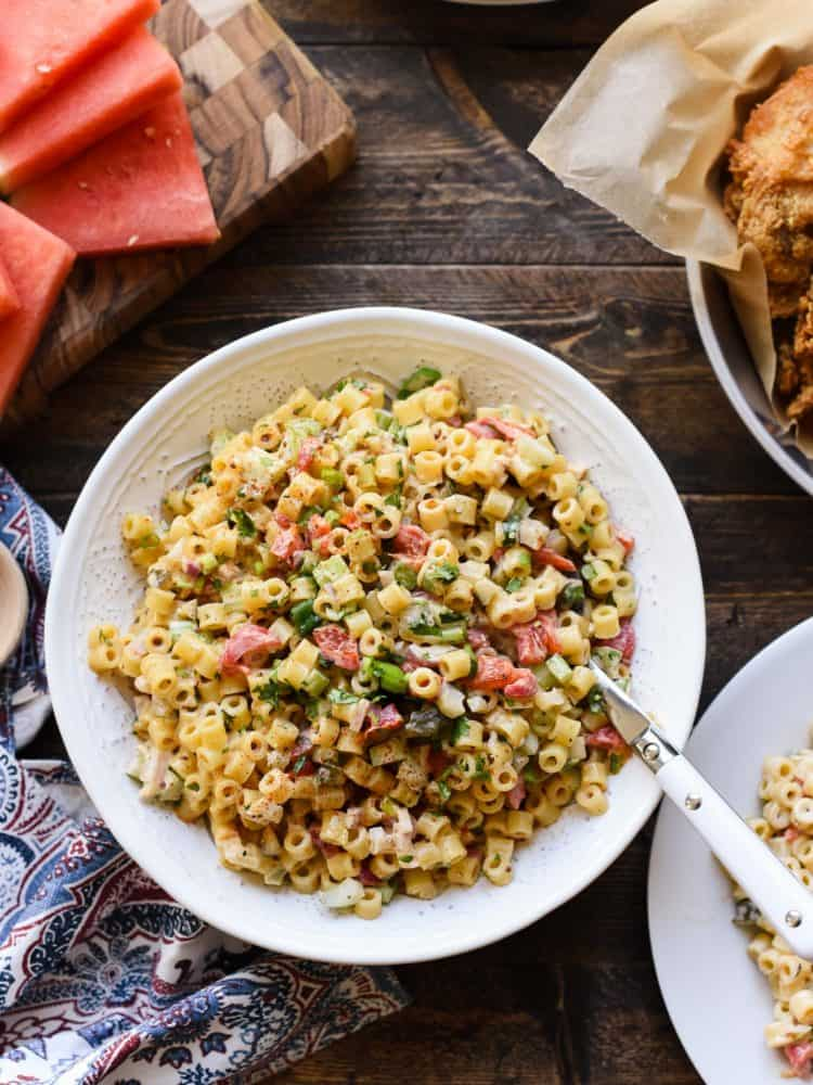 Give macaroni salad a spicy update with this crunchy, creamy and super flavorful Fireworks Pasta Salad! It goes with everything for barbecue and picnics!