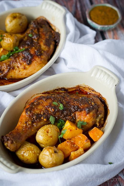 Harissa-style Roast Chicken with Butternut Squash and Potatoes