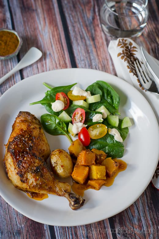 ... | Harissa-style Roast Chicken with Butternut Squash and Potatoes