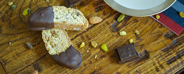 Chocolate-Dipped Pistachio Almond Biscotti | A Guest Post from Lemons ...