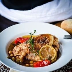 Braised Chicken with Chickpeas & Peppers
