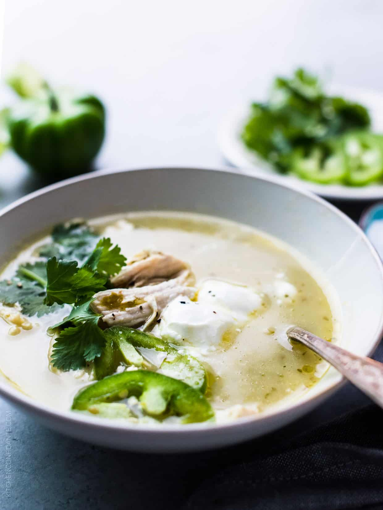 Roasted Tomatillo Chicken Soup - let the magic of roasted tomatillos and jalapeños warm you from the inside.