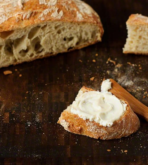 No-Knead-Bread-Kitchen-Confidante-With-Goat-Cheese-and-Honey