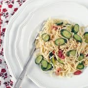 Spaghetti with Baby Zucchini and Bacon | Kitchen Confidante-Plated