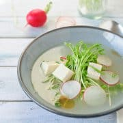 Tofu Soup with Pea Shoots and Radish | Kitchen Confidante | Slider