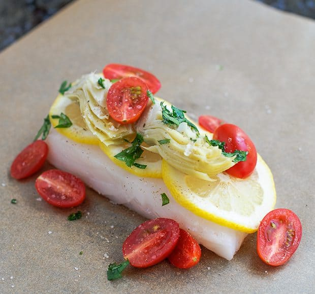 Halibut with Aritchoke and Tomatoes | Kitchen Confidante