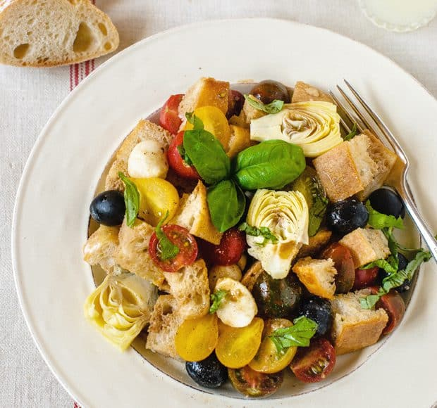 Panzanella with Artichokes and Olives | www.kitchenconfidante.com