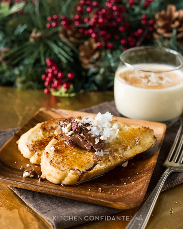 Coconut Hazelnut Eggnog French Toast | Kitchen Confidante