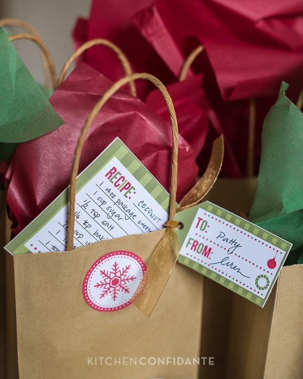 oconut Cookies - HP Holiday Printables | Kitchen Confidante | Bag Tags