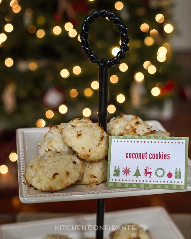 Coconut Cookies - HP Holiday Printables | Kitchen Confidante