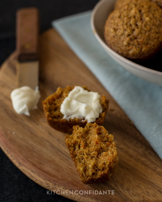 Carrot Oat Muffins | Kitchen Confidante | Sliced