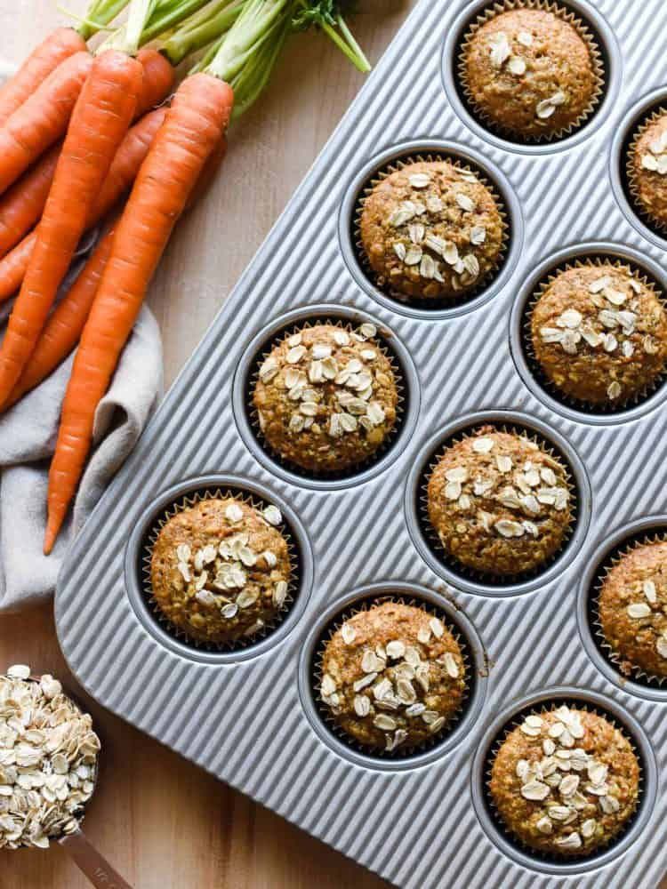 If you have ever wanted carrot cake for breakfast, then these Carrot Oat Muffins are for you.