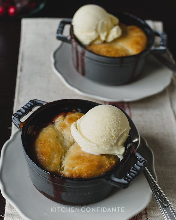 Cranberry Rhubarb Cobbler | Kitchen Confidante | With Ice Cream