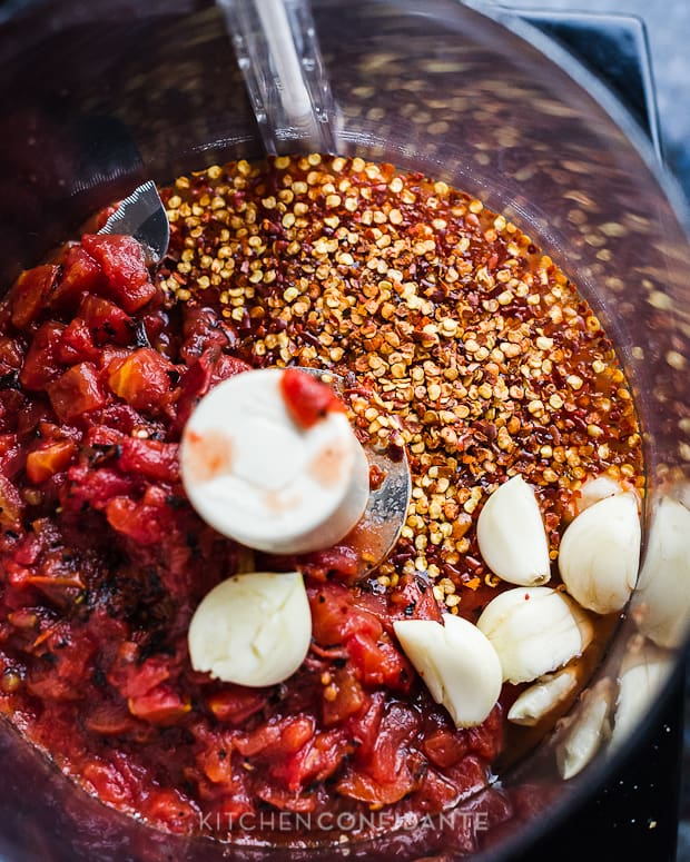 Fire Roasted Tomato Harissa | Kitchen Confidante | Ingredients in Blender
