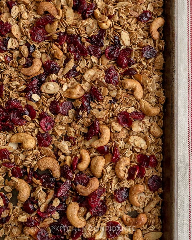 Trail Mix Granola | Kitchen Confidante | On Baking Tray