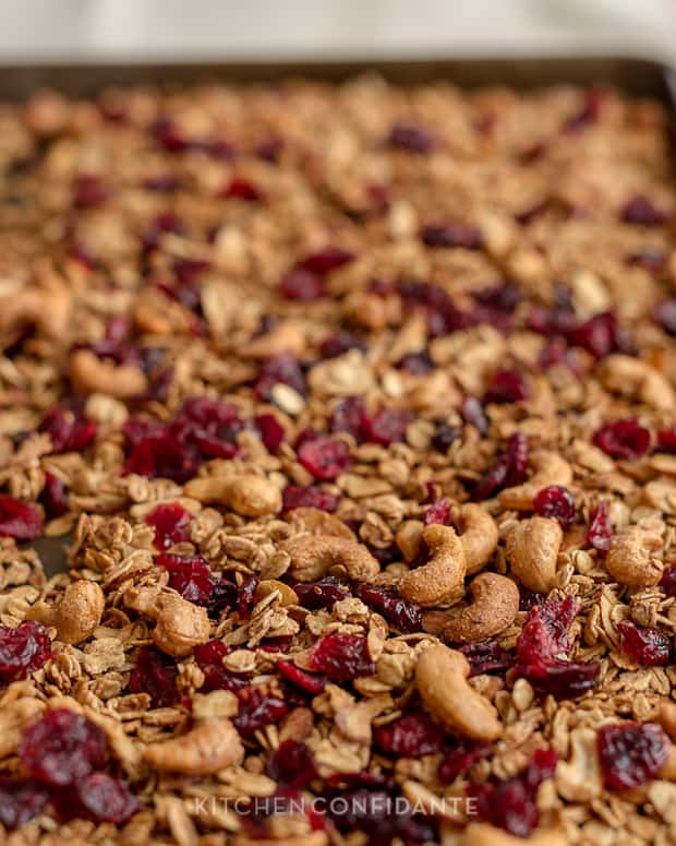 Trail Mix Granola | Kitchen Confidante | Granola with Cashews, Almonds and Cranberries