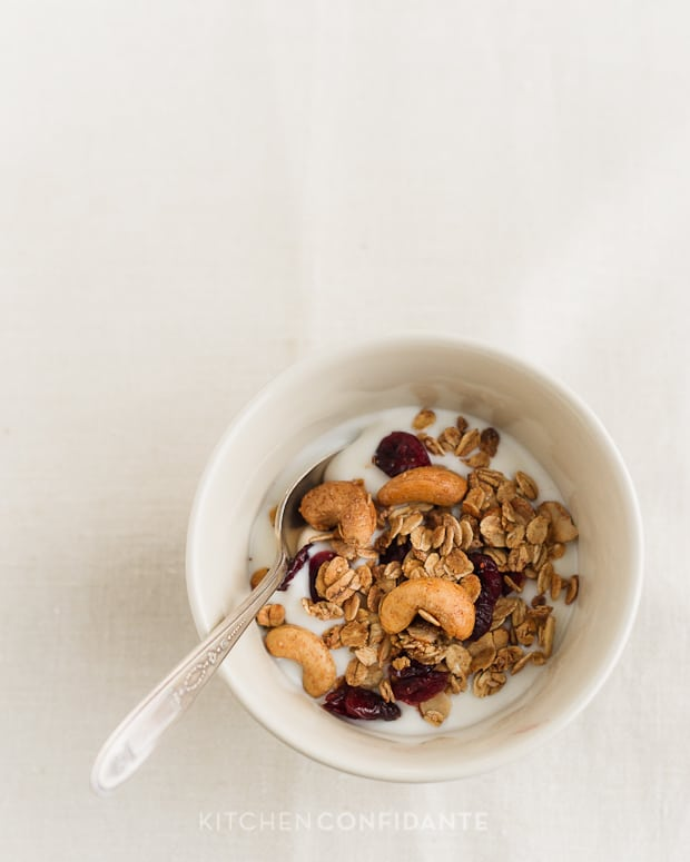 Trail Mix Granola | Kitchen Confidante | Granola with Yogurt in a Bowl