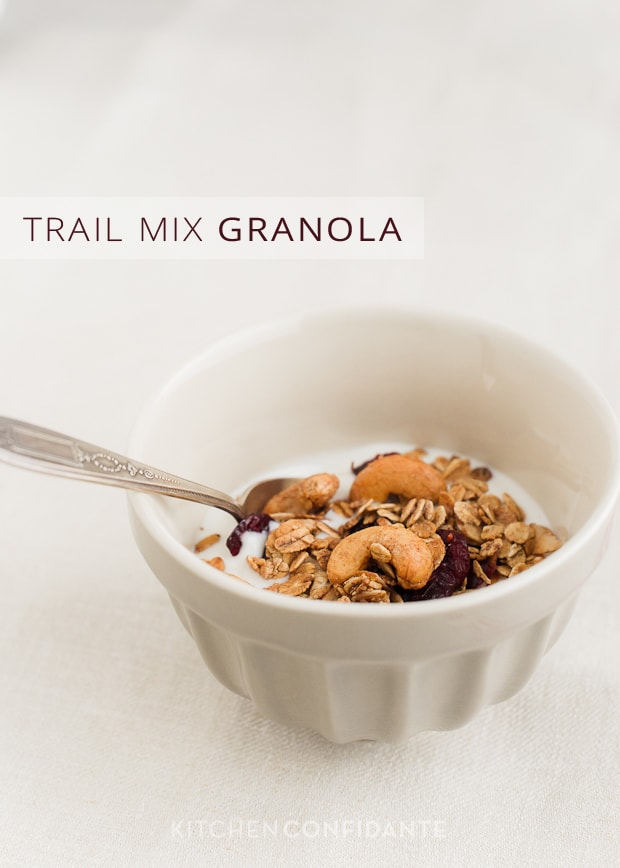 Trail Mix Granola | Kitchen Confidante | Granola with Yogurt