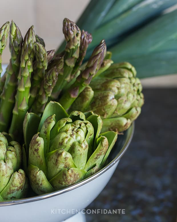 Barley Risotto with Artichokes and Asparagus | Le Creuset Quince | Kitchen Confidante | Vegetables