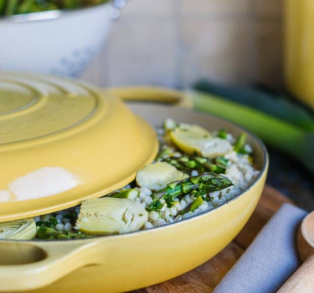 Barley Risotto with Artichokes and Asparagus | Le Creuset Quince | Kitchen Confidante