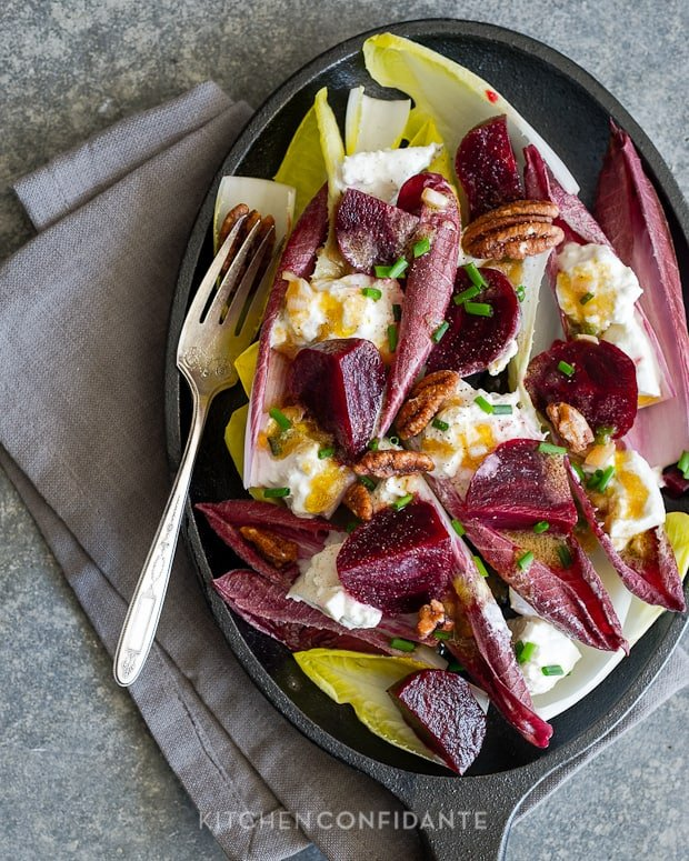 Beet and Burrata Endive Salad | Kitchen Confidante | With Shallot Vinaigrette