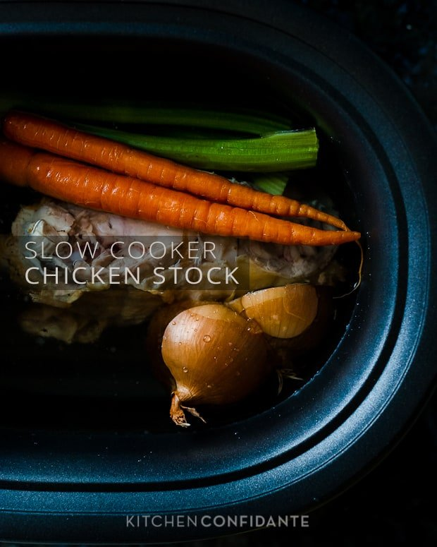 Slow Cooker Chicken Stock | Kitchen Confidante | In Slow Cooker