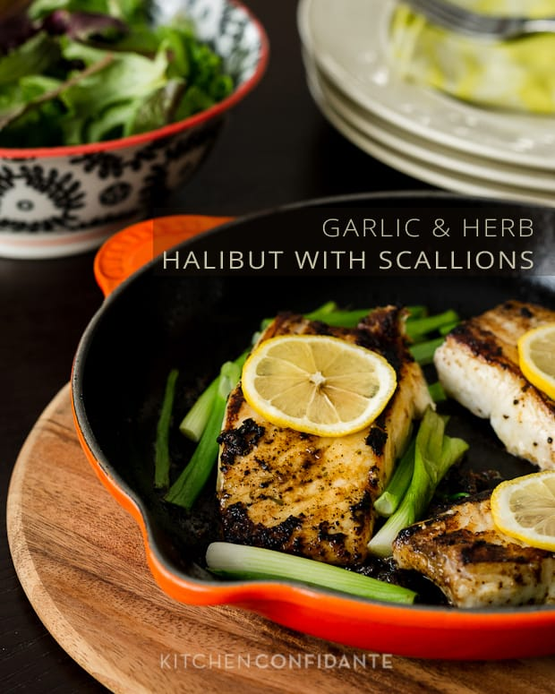 Garlic & Herb Halibut with Scallions | Kitchen Confidante