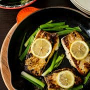 Garlic &amp; Herb Halibut with Scallions | Kitchen Confidante | In Pan