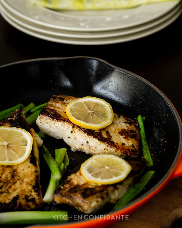 Garlic & Herb Halibut with Scallions | Kitchen Confidante | Fillet