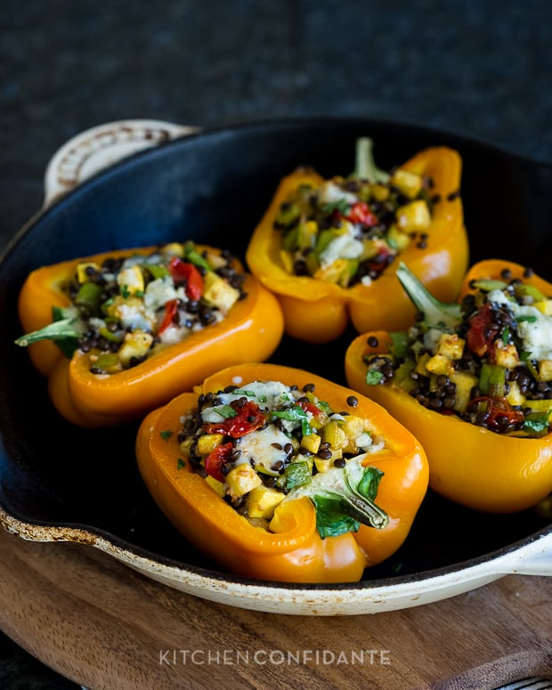 Lentil Stuffed Peppers | Kitchen Confidante | With Yellow Squash