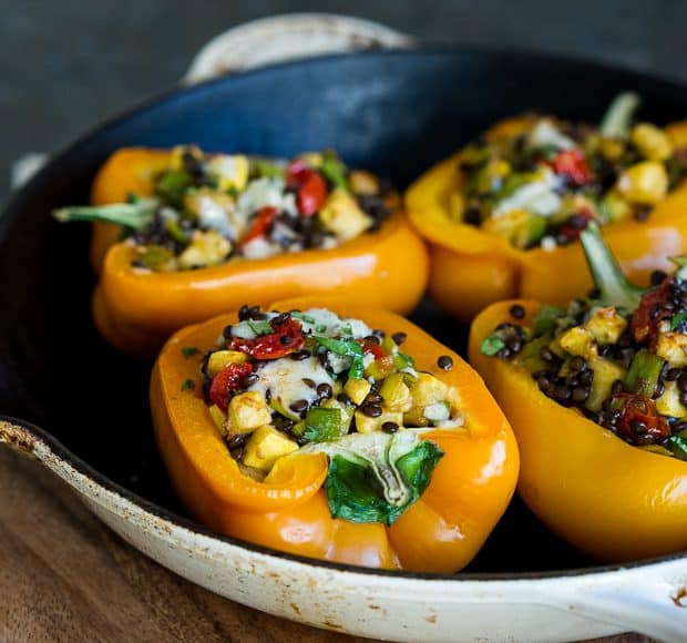 Lentil Stuffed Peppers | Kitchen Confidante | Baked
