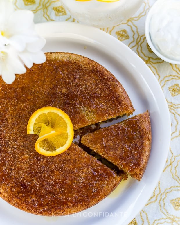 Moroccan Orange Cake | Kitchen Confidante | With Orange Garnish
