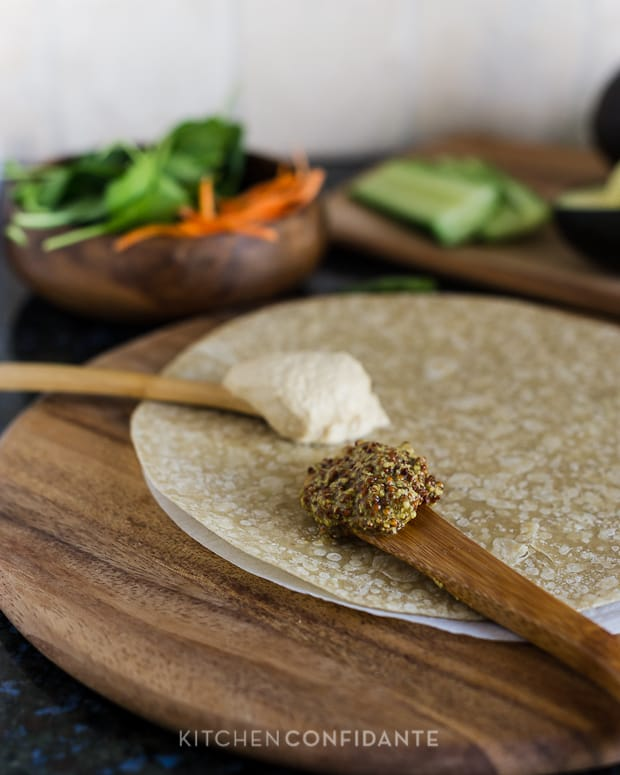 Veggie Wraps | Kitchen Confidante | Mustard and Hummus