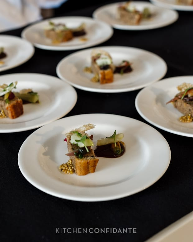 Sixth Annual Pebble Beach Food & Wine, April 2013 | Kitchen Confidante | Pork Terrine Glazed Eel & Pickled Mustard Seed by Chef Angie Berry
