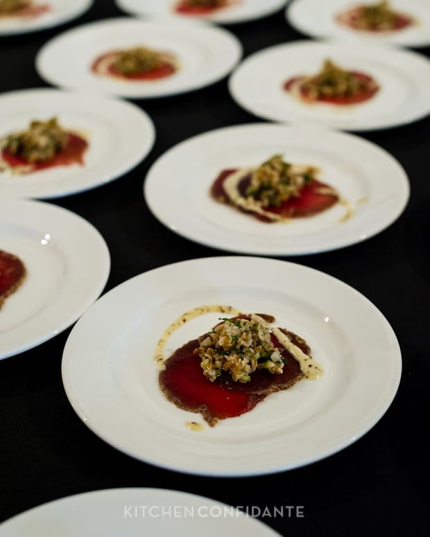 Sixth Annual Pebble Beach Food & Wine, April 2013 | Kitchen Confidante | Kelly Liken's Rocky Mountain Elk Carpaccio
