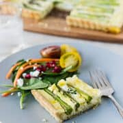 Buttermilk Asparagus Quiche | Kitchen Confidante | Plated