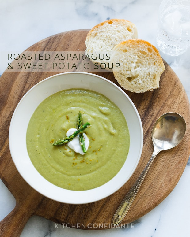 Roasted Asparagus and Sweet Potato Soup | Kitchen Confidante | Liren Baker