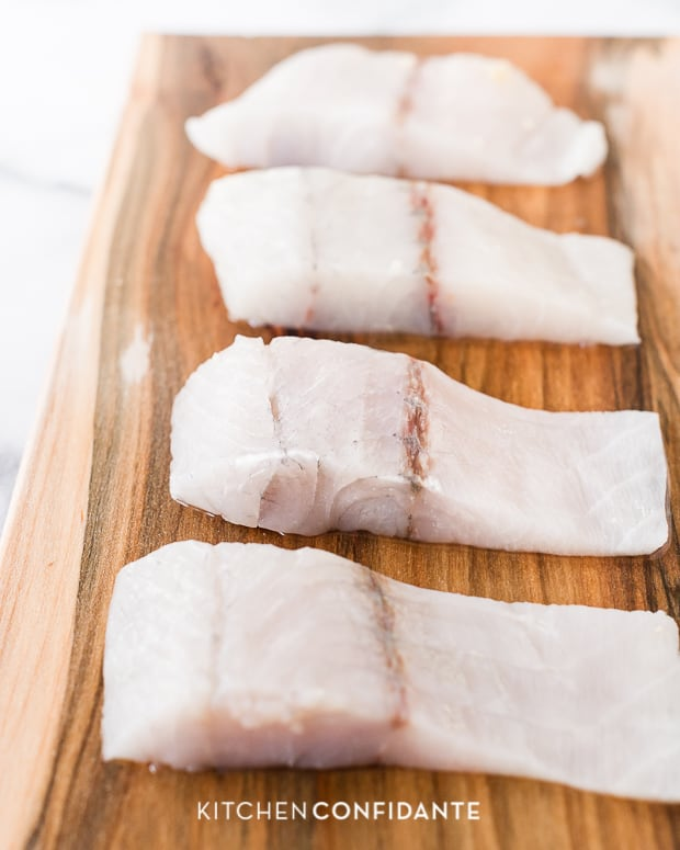 Maple-Planked Barramundi with White Balsamic-Maple Glaze | Kitchen Confidante | Sliced Fillets