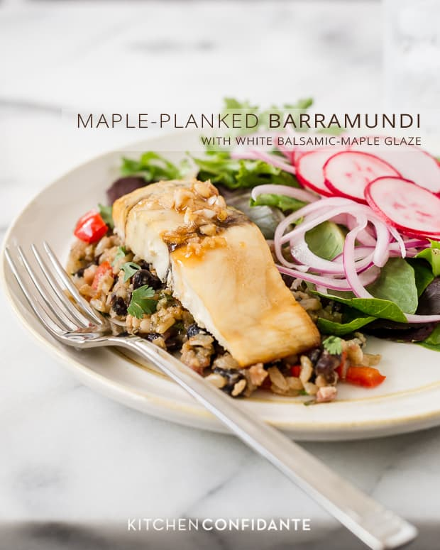 Maple-Planked Barramundi with White Balsamic-Maple Glaze | Kitchen Confidante