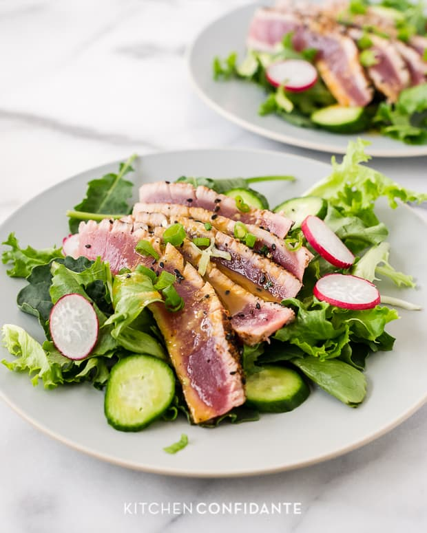 Seared Ahi Tuna Salad | Kitchen Confidante | With Wasabi-Soy Dressing